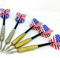 Professional Darts Seller 20g 12pcs/lot copper plating Plastic Shafts Hard Dart Needle UK & USA Flag Dart Flights Free Shipping