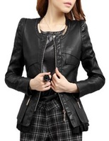 Free Shipping!Spring New Korean Thin Large Size Women's PU Leather Motorcycle Leather jacket/ XXL XXXL Hot Selling