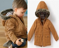 Retail 1pcs free shipping top quality!2013 winter baby boy jacket winter warm coat cotton-padded children outwear 2-6YRS