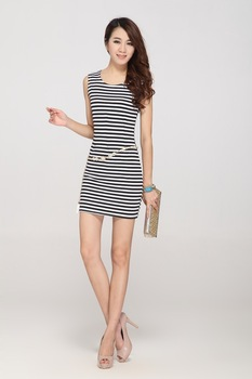 Free shipping Summer new sexy dress Slim ultra-thin stripe dress