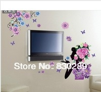 Free Shipping 3D layers affixed woman flowers fifth generation of removable wall stickers