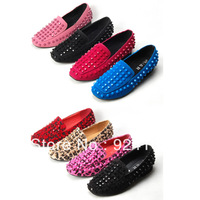Unisex women's shoes leopard print horsehair nubuck cowhide rivet single shoes 8 2013 - 18