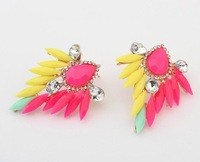 [Mix 15USD]Vintage Boho Luxury Colorful Shiny Resin Crystal Ear Stud Earring