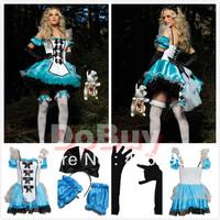 2013 Women Queen Blue Uniform Fantasy Dress,Adult Alice costumes,Snow White cosplay ,sexy Halloween Costume