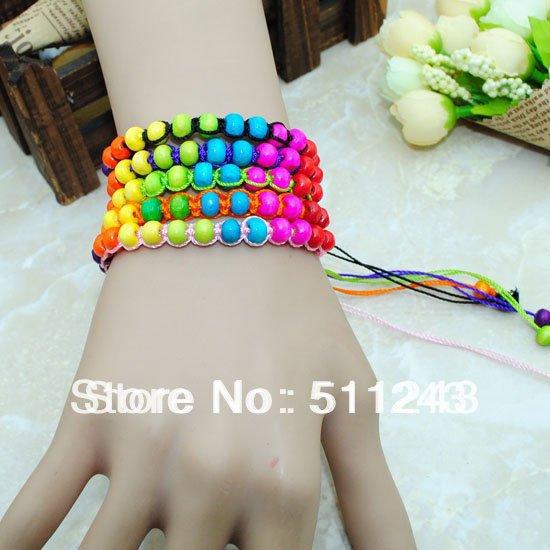 2014 popular Nepal wooden friendship rainbow beads bracelets(China (Mainland))