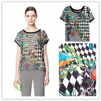 2013 European and American style Geometric Bird printed chiffon shirt o-neck blouse short sleeve shirt free shipping