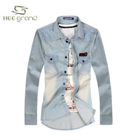 2013 New Arrival Washing Grinding White Jeans Shirt High Quality Cotton Shirts Free Plus Size M-5XL Shipping MCL121