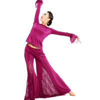 Woman Modern dance set top and lace pants for stage and practise Purple Black M/L/XL
