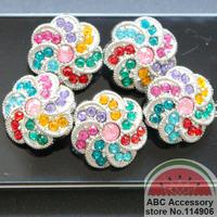 button 25mm,rotate rainbow rhinestone buttons 144pcs/lot,PB279