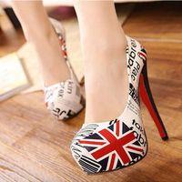 [ Ai purchase - British flag high heels ] picometer word British fashion explosion models classic quality PU shoes