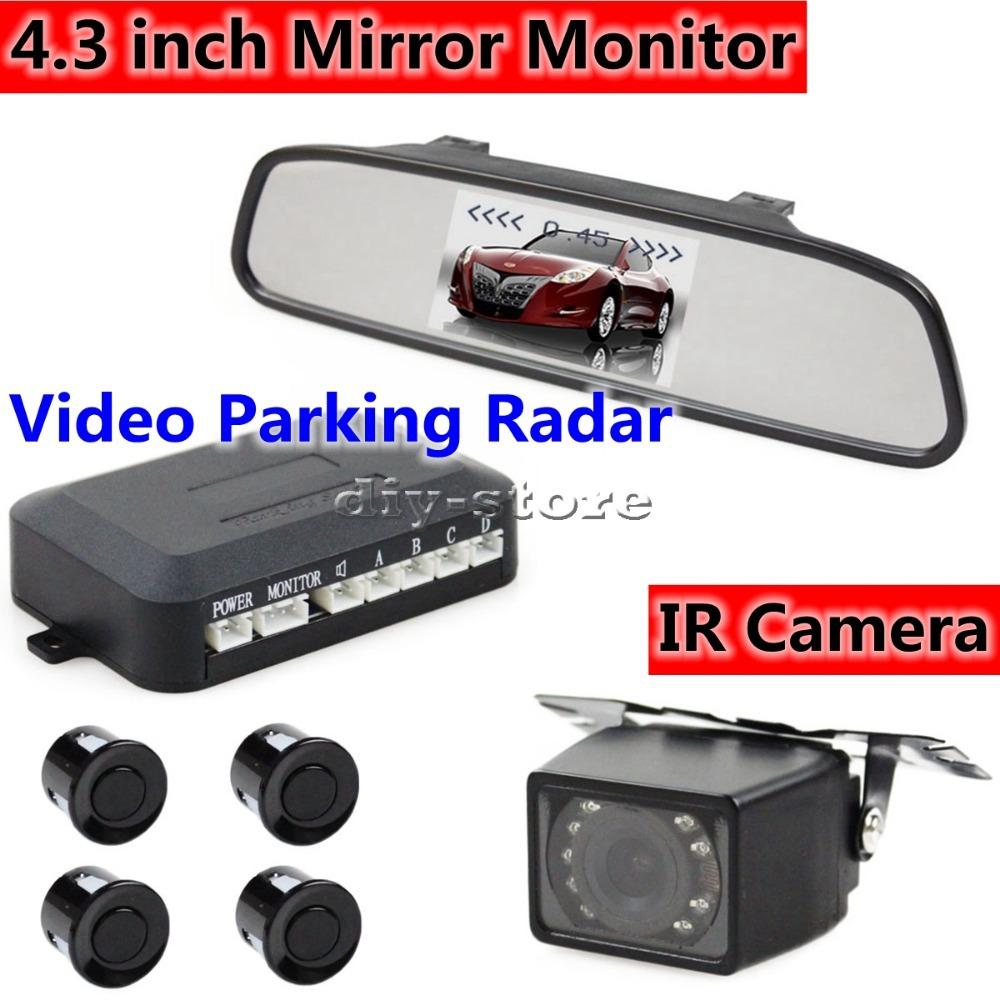 "DIY 4.3""Inch Built-in LCD Monitor Rear View Mirror Rear View Mirror Kit + 4 Parking Sensors(China (Mainland))"