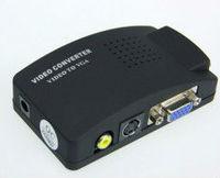 Free Shipping&wholesale  AV S-Video RCA Composite Video to PC VGA Converter adapter box TV to PC converter