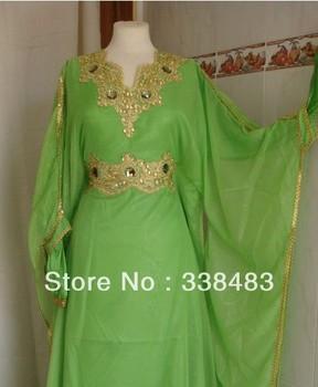 Nouvelle arrivée 2013 bon marché Jewel arabe dubaï ABAYA caftan vert violet à manches longues avec perlée de soirée, Robes robe, Robe de bal