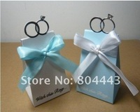 Free shipping 85pcs/lot as candy box for favor box--With this Ring Elegant Icon Favor Box (Blue)-(85pcs/lot)