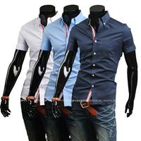 Free Shipping 2014 Mens Slim fit stylish Dress short Sleeve Shirts Mens dress shirts 9066