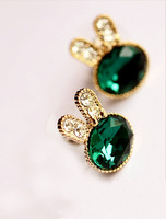 24pcs (12 pairs/lot) Fashion Korean Lady Lovely Rabbit Alloy Crystal Studs Earrings Free Ship