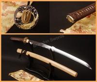 Japanese Sword Katana Coffee Handle Gold Fish Carved Tsuba Nice Saya Full Tang Samurai Sword * ESA107