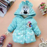 Retail High quality winter children Coats,New style Minnie long-sleeved coat girl's keep warm coat  baby jacket lovely color