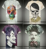 Sale!!2014 Fashion women/men Skull clown character print 3D T shirt cartoon print space galaxy t shirt top