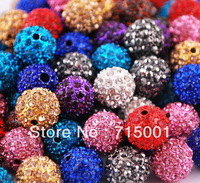 Wholesale Charms 200pcs/lot Mutilcolor DIY 10mm Rhinestone Pave Disco ball Shamballa Crystal beads for Bracelet & necklace