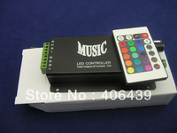 24keys IR LED music controller;DC12V~24V input;3channels,Max 4A each channel output,Aluminum black shell,with 24key remote