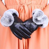 New 2014 Winter  Female Luxury Style Warm Sheepskin Genuine Leather Rabbit Fur Gloves Driving Thickening  Gloves  Free Shipping