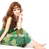 Free Shipping!!! Bohemian Style Women Peacock Printed Halter Neck Beach Dress