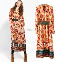 New 2014 Summer dress Bohemian National Wind Long Sleeved Waist Casual dress women dress