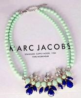 N1056  Girls mint green bead necklace gems flower necklace short necklace