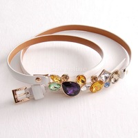 Fashion colorful crystal gem inlaying pin buckle female all-match strap belt