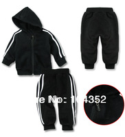 Retail baby girls boys striped sports clothing set girl's boy's black active 2pieces suits stripe hoody pants clothes sets