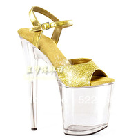 [(My God)] Free shipping 2014 summer fashion sexy crystal 20cm 15cm ultra high heels sandals gold paillette formal dress shoes