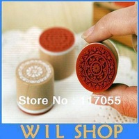Wooden vintage Antique round lace Stamps seal DIY diary carved gift decor craft scrapbook toy 6 design option