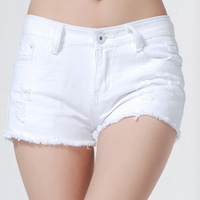 2014 New women's casual burr hole white washed denim shorts nightclub shorts female summer black disco jean shorts short jeans