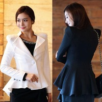 2013 Hot Sale! Women White Black Casual Suit One Button Blazer Jacket Swallowtail Style  C1003