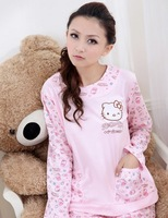 Free shipping hot selling 100% cotton hello kitty long sleeve women pajamas sleepwear cartoon pyjamas women wholesale and retail