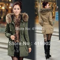 Khaki Army Green Fashion Women Thicken Fleece Warm Winter Coat Zip Hood Parka Overcoat Jacket Size XS S M L