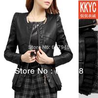 Free Shipping New 2014 New Women lace PU Leather Jackets, Black Ladies short Slim Leather coat Plus Size M L XL 2XL 3XL 4XL