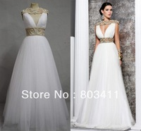Freeshipping White Hollow Pearls Beading Sash Bateau A-Line Cap sleeves Floor length Prom Gowns Evening Dresses