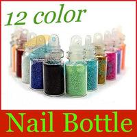 New Arrive: 12 Color Glitter Decor Nail Art Powder Dust Bottle Set free shipping