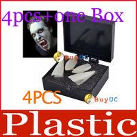 free shipping: 4PCS White Hot Fancy Vampire Denture Teeth Fangs Party Halloween Costume + Box