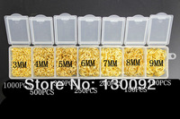 Free Shipping wholesale Lot 2500pcs 3-4-5-6-7-8-9mm 18K  Gold  Components  jewelry findings jump rings a box   0023