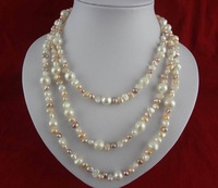 Free shipping 150cm length Irregular Shapes  Pearl Necklace  Natural Colours The  Cheapest one