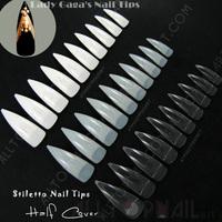 3 Colors Lady Gaga's Stiletto Nail Tips Half  Cover False Nail Tips Aya Fukuda Used Stiletto Fake Nail Tips