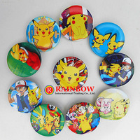 Wholesale NEW 48pcs/lot Pikachu Pokemon tin Badge Round button pin badges Clothing accessories 45mm Free Shipping