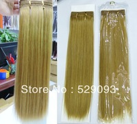 Top Quality Grade 5A Neat 14'' 100g European Virgin Remy Human Hair Weave Extension Straight 24# Natual Color Glod Blonde