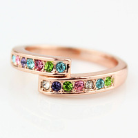 Colorful dream austria crystal rings finger ring female,Fashion 18K rose gold plated finger rings for women&girl  2013,Wholesale