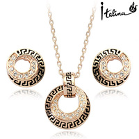 Real Italina Rigant Genuine Austria Crystal  18K Real Gold plated Jewelry Set for women Elegant Geometry  #RG20011
