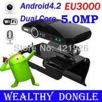 With 5 MP Camera Android 4.2 Dual Core Allwinner A20 mini pc with camera HDMI 1080P RAM 1GB ROM 8GB EU3000 TV BOX Receiver