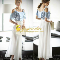 2013New Arrival Korean Women Faux Twinset Princess Chiffon Long Dress Off Shoulder Empire Patchwork Ruffle Maxi Dress Blue-White
